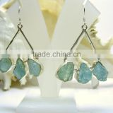 Aquamarine Multi Stone Rough Gemstone Earrings, 925 Solid Sterling Silver Earrings, Dangle Designer Earrings
