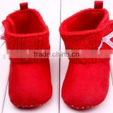 Winter children christmas red bow boots high quality soft sole new model toddler girls boots