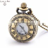 Newest fashion accessory jewelry alloy quartz movement antique brown glass covered pocket watch