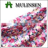 Mulinsen textile 16 years fabric factory/ 32sR ring spun viscose elastane printed fabric