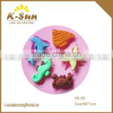 K-sun MINI star Fish dolphin crab fondant silicone mold cake decorating tool