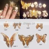 2016 Newest Korean Style 3D luxury nail charm, golden bow tie, the bridge butterfly knot shape nail art decoration