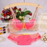2015 Summer Style Women Brief Sets Sexy Bra Set Female Japan Intimates 3/4 B Cup Lace Bra Push Up Bra Sets Free Shipping