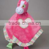 ultra soft and unbelievably cute Hot Pink Horse Snuggler small blanket baby plush toys with embroidery