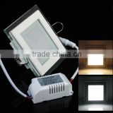 SMD5630 AC85-265V High Brightness Ceiling Recessed Lamps LED Panel Downlight Square Glass Panel Lights