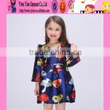 spring autum satin material kids anarkali dresses long sleeve baby kids dresses for girls 2016