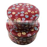 wholesale cute round cookie tin box set of 2