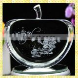 Wholesale 3D Laser Engraved Crystal Apples For Christmas Gift