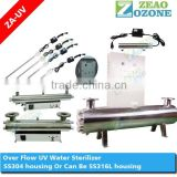 304 stainless steel uv bactericidal sterilizer for water with quartz tube