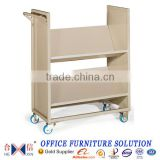 Office furniture metal 2-layer double sided library book trolley