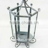 Six corner metal lantern with glass for home garden