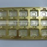 Disposable golden Plastic Biscuit Packing Trays PVC chocolate tray