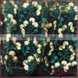 Multicolor floral embroidery design shining polyester embroidered nylon mesh fabric lace