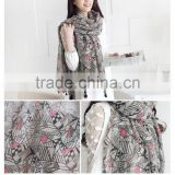 New print geometry cotton voile big size shawls tassels long muslim hijab plain wrap pashmina scarves/scarf