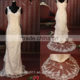IN STOCK Shoulder-straps v-neck wedding dress sleeveless Ankle-length bridal dresses SW94