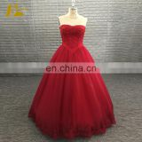 Empire Ball Gown Sleeveless Beaded Floor Length Long Red Prom Dress 2017