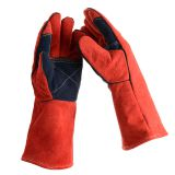 Velvet Black Welding Work Gloves Double Layered Heat Resistant Lined Leather Gloves