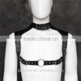 New designs black PU leather harness bondage restraint male sex product stage costumes