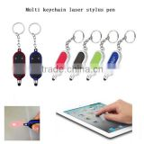 2016 New Button Battery led Mini Keychain Stylus pen with laser light