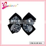 Good quality double layered animal stripes ribbon bow tie hair clip factory wholesale (DW--0033)