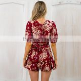 New styles womans retro printing jumpsuit playsuit women summer beach apparel designer one piece party dress                                                                         Quality Choice