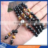 6mm-8mm Options Multilayer Tiger Eye and Obsidian Malas Prayer Beads Bracelet Good Fortune