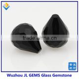 High Quality Synthetic Black Color Facet Cut Tear Drop Shape Glass Gemstone From JL Gems