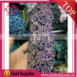 Hot sale vision lavender flower honorable lace knitting lace fabric for ladies' dress for Islamic middle east Mohammedan