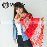 New styles fashion girl cotton Bohemian church printed infinity voile fabric scarves shawl wholesale