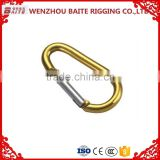 China Manufacturer Yellow aluminum ,D Type Aluminum climbing carbiner,Wire Gate Climbing Carbiner, mini spring Snap Hook