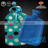 2000ml BS Standard Rubber Hot Water Bottle with blue dots coral fleece cover                                                                         Quality Choice