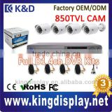 cheap oem color package cctv surveillance camera standalone dvr kit 4ch full d1 network dvr record 850tvl mini ir bullet camera