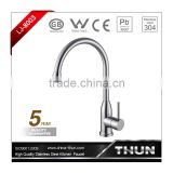 stainless steel single cold swan neck kitchen faucet