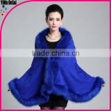 2016 new fashion Sapphire blue Fur Women Pashmina Wide Shawl winter Ladies shawl