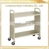 durable steel flat book cart/library trolley bookshelf/book rack shelving/steel rolling library book carts