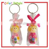 Cute key ring wooden car key ring pink doll key chain ring
