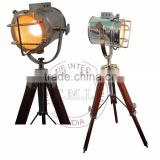 SPOTLIGHT WITH WOODEN TRIPOD STAND - SEARCHLIGHT WITH WOODEN STAND - NAUTICAL SPOTLIGHT