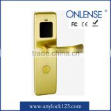 Golden color hotel RF card access lock from Guangzhou Onlense Science&Technology co.,Ltd