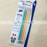 "7"" standard size hexagonal shape soft wood candy striped HB pencil set in blister card"