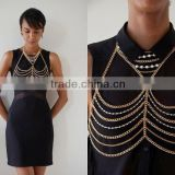 Fashion Gold Multi Belly Body Chain, Sexy diamond and pearl Body Chain Jewelry,Beach Bikini Body Jewelry