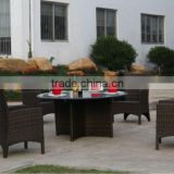 Bistro rattan coffee table with 4 chairs set antique restaurant furniture