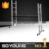Aluminum scaffolding ladder with best price 6063T5 EN131 certificate SGS, wooden decoration ladder