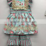 2016 real life pic new arrival baby frock designs kids princess floral dress top ruffle pant girls clothing set