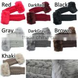 Women Fingerless Gloves Arm Warmer Glove Long Winter Fuax Fur Mittens Knitted Ribbed