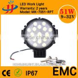 China top selling spot led lights outdoor round led light 51w led work light