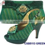CSB5113 middle thin 10cm heals shoes and bag match set with stones famous in European style for young lady for wedding /party