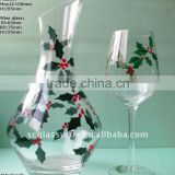 Beautiful hand made decanter and wine glass with decal