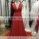 AR-90 Slim Summer Style Brautkleid Long V-Neck Robe De Soiree Beach Sexy Revealing Orange Evening Dress