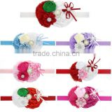 Wholesale baby girl headbands Multi-Colored mini rose with satin ribbon flower Sparkling Rhinstones center Elastic headband