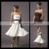 2016 Short Sexy Sleeves White Bows Ball Gown Bridesmaid dresses pictures of latest gowns designs